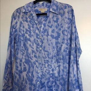 Michael Kors | Blue & White Button Shirt |  14-16
